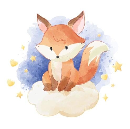 schattige vos zittend op de wolk met sterren vector
