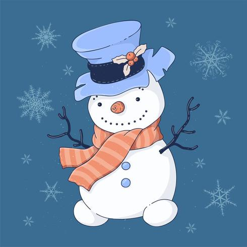 Kerstkaart cute cartoon sneeuwpop in hoge hoed en sjaal vector