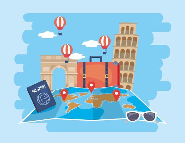 globale kaartlocatie met luchtballonnen en paspoort vector
