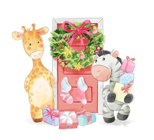 dierenvrienden met versierde kerstdeur vector