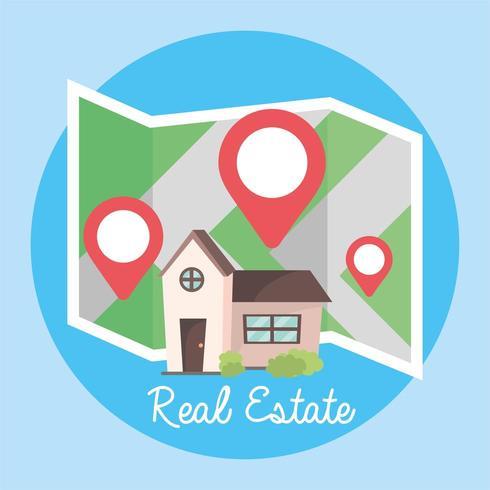 locatie en kaart naar huizen onroerend goed locatie vector