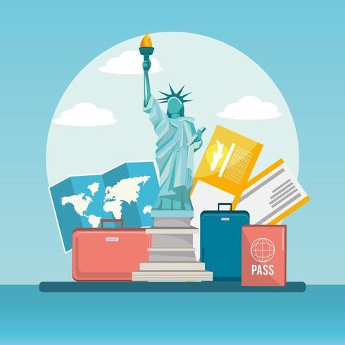 Vrijheidsbeeld trabel met bagage en paspoort vector