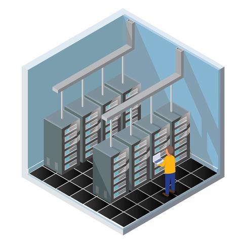 Isometrische diagnostische test in een servercomputerruimte vector