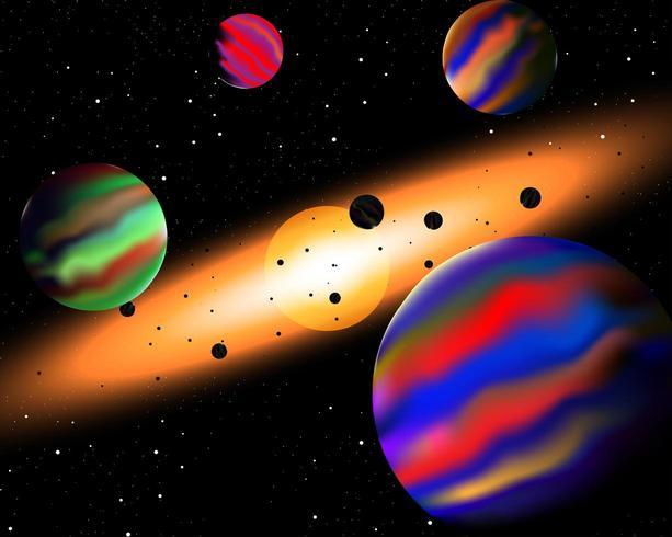 Vector illustratie van kosmische ruimte met mooi sterrenlicht en de zon.