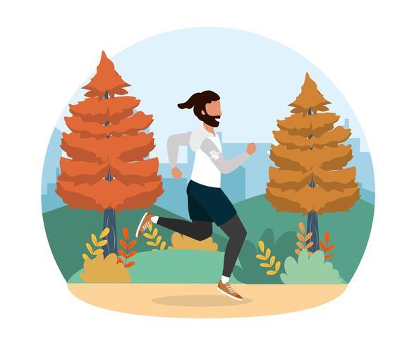 man praktijk lopende fitness oefening vector