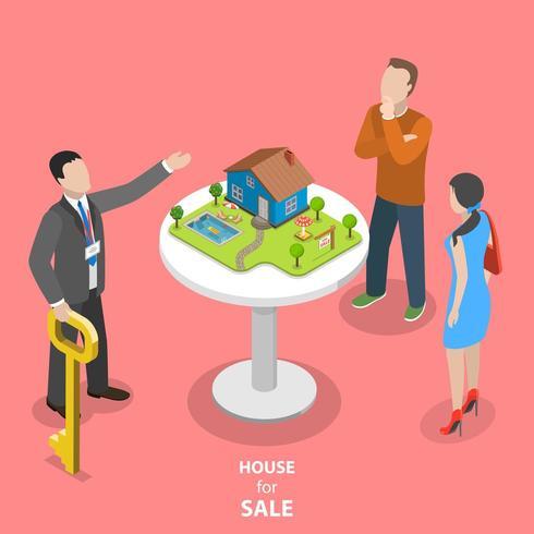 Huis te koop isometrische platte concept vector
