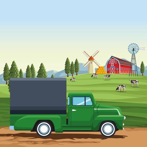 Vrachtwagen voor landbouwproducten vector