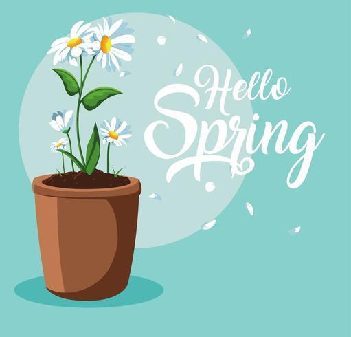 Hallo lente kaart met prachtige bloemen in pot vector
