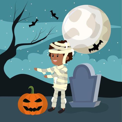 Halloween mummiejongen vector