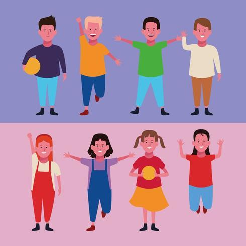 Kleurrijke set van kinderen achtergrond instellen vector