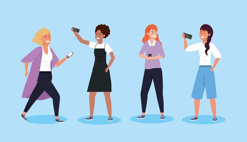 stel vrouwen in met smartphonetechnologie en kapsel vector