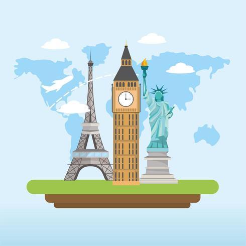 reizen wereldwijd verkennen en leuke toerist vector