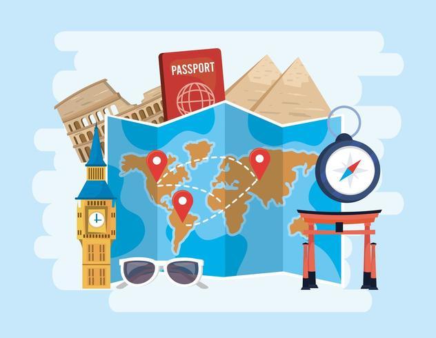 wereldwijde kaartlocaties met paspoort en chronometer naar bestemming vector