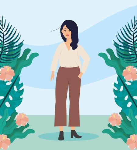 meisje met blouse en planten casual kleding met kapsel vector