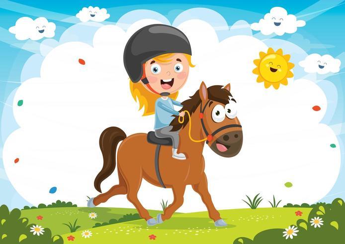 Illustratie Van Kid Rijden Paard vector