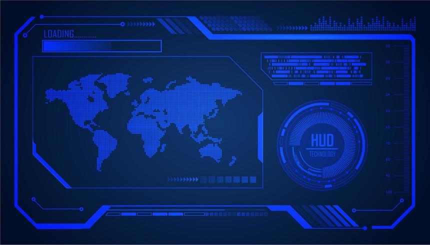 Blauwe wereld HUD cyber circuit toekomstige technologie concept achtergrond vector