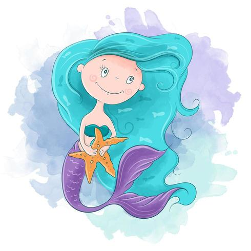 Aquarel cartoon zeemeermin meisje vector