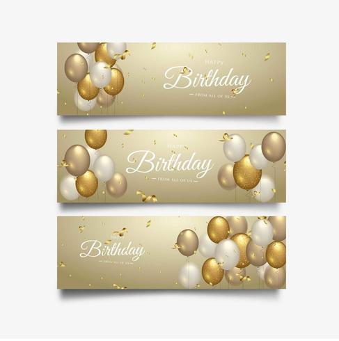 Gelukkige verjaardag viering typografieontwerp voor groet banner set vector