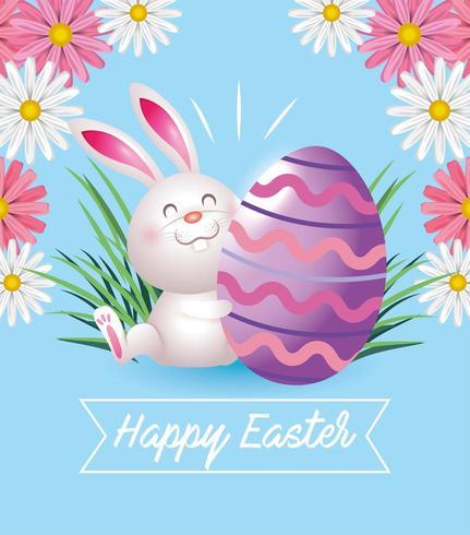 Happy easter konijn met ei decoratie vector