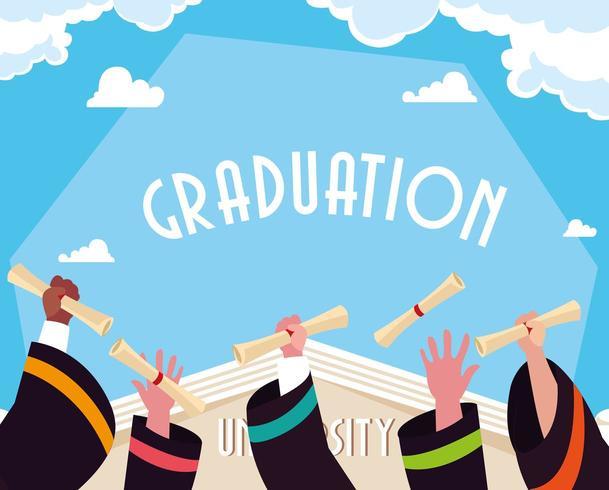 Afstuderen diploma in handen viering ontwerp vector