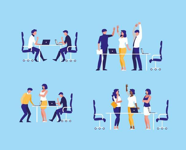 groep van mensen uit het bedrijfsleven op de werkplek vector