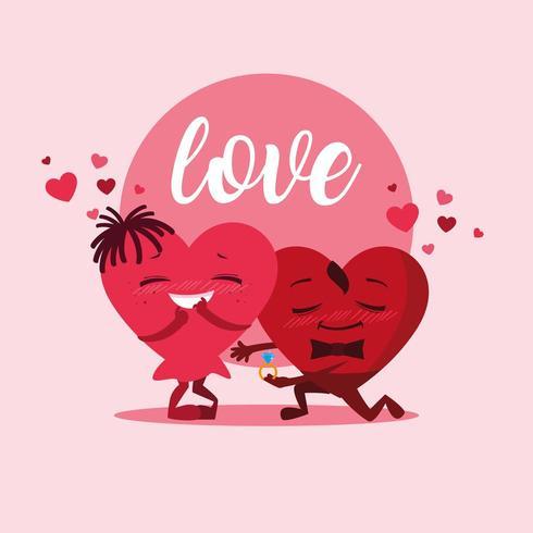 schattig hartenpaar met verlovingsringkarakters vector