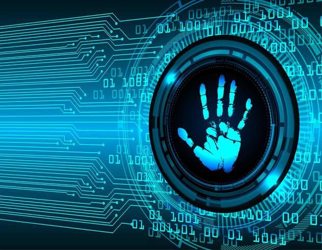 Handafdruk op digitale achtergrond vector