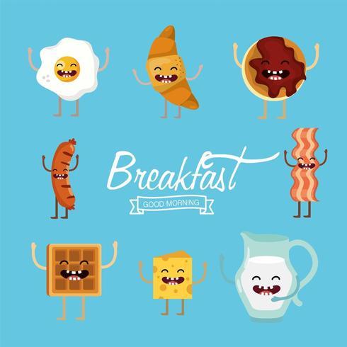 Set cartoon ontbijtproducten vector