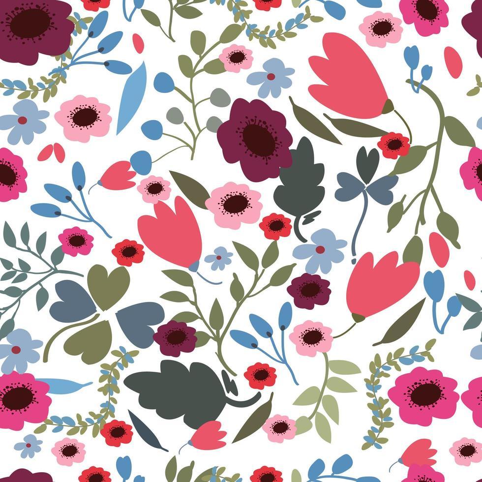 Paars roze lente jungle bloem naadloze patroon vector