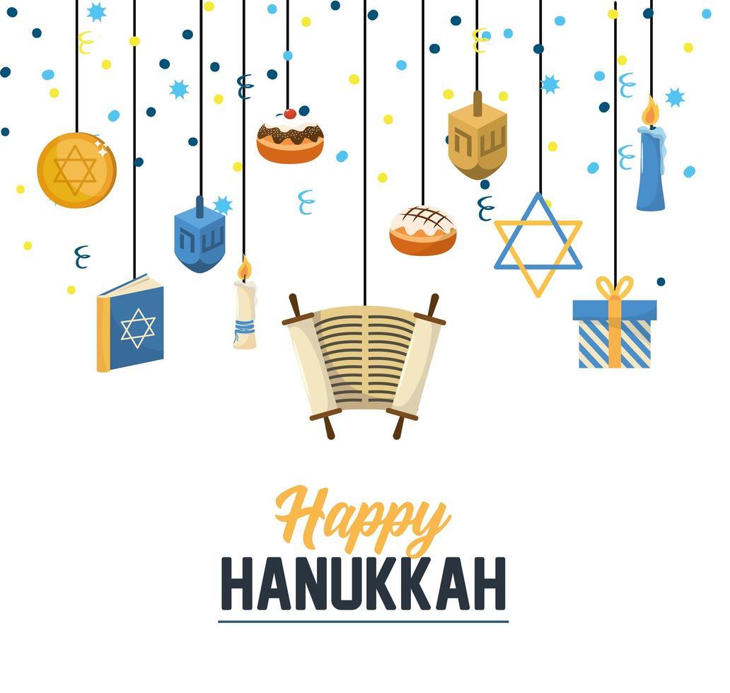 Traditionele hanukkahgroet met feestelijke decoratie vector