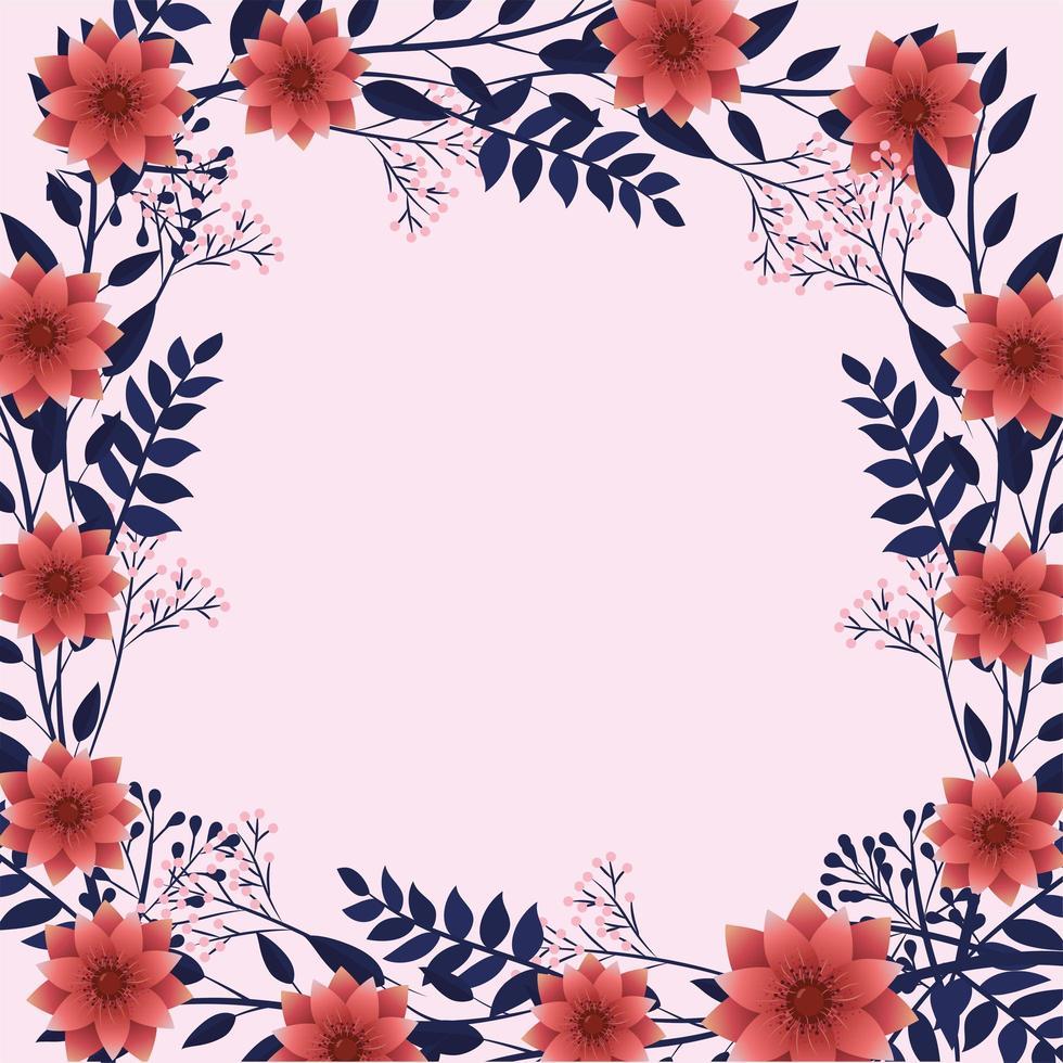exotische bloemen met schattige bladeren frame op roze achtergrond vector