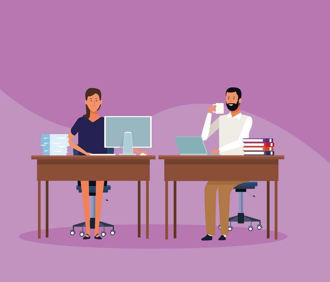 collega's man en vrouw op kantoor vector