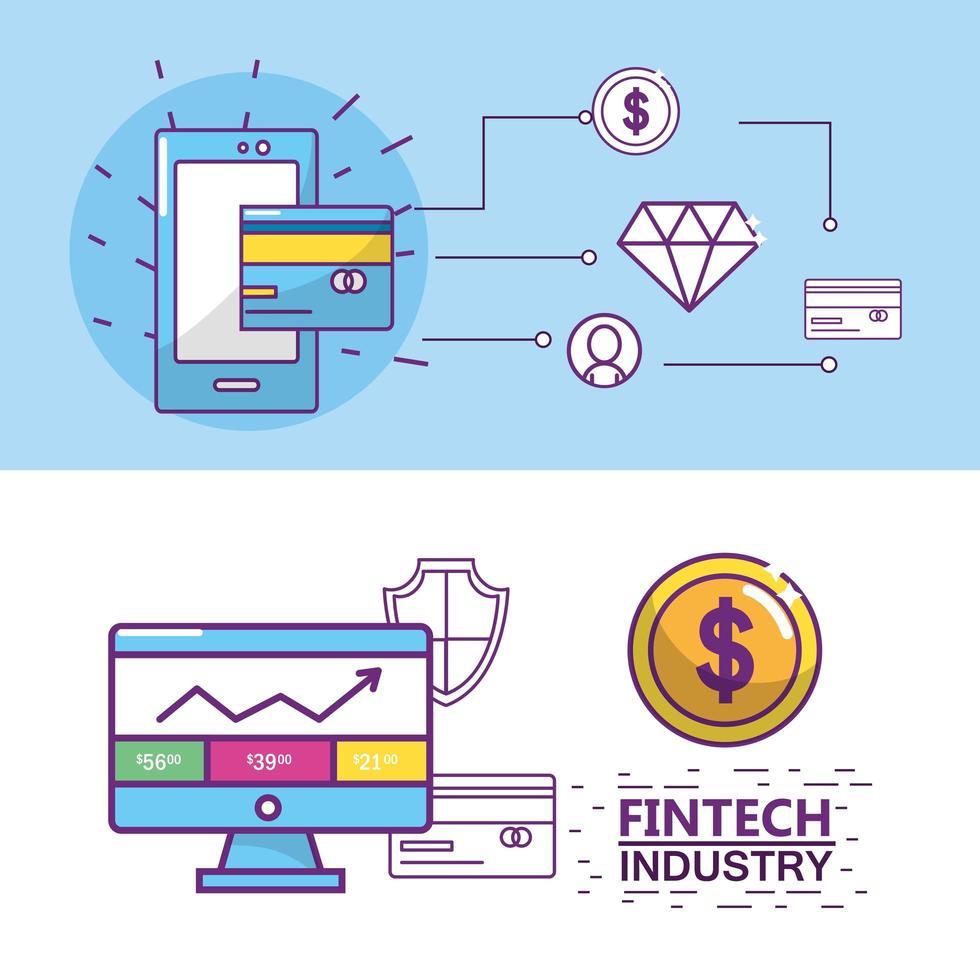 Fintech-industrieontwerp vector