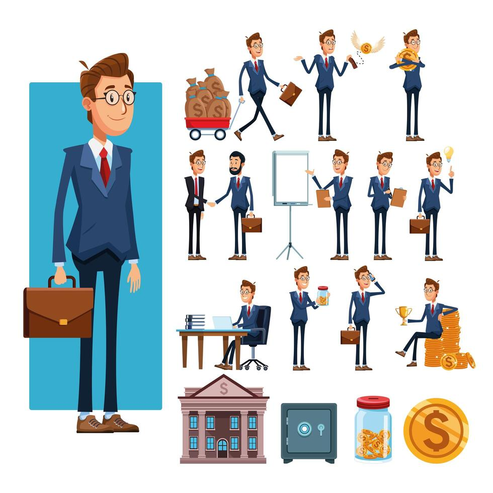 zakenlieden en zakelijke elementen tekenfilms vector