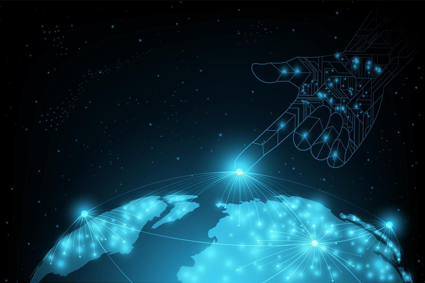 Futuristische achtergrond met globe en wijzende hand vector