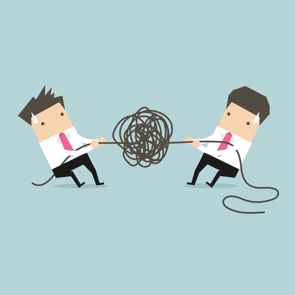Zakenman die verwarde kabel proberen te ontrafelen vector