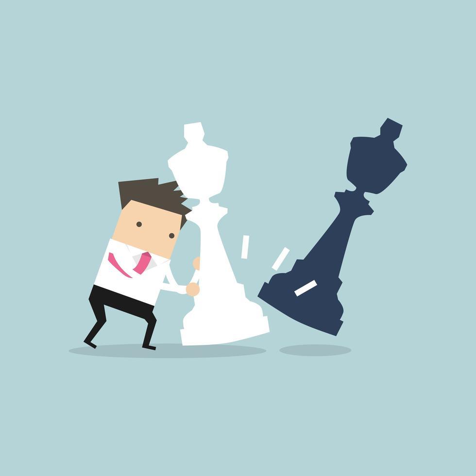 Zakenman die reusachtig wit schaakstuk beweegt vector