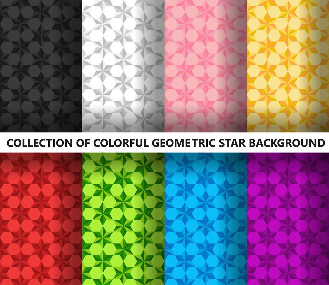Collectie van kleurrijke geometrische sterren veelhoekige naadloze patroon vector