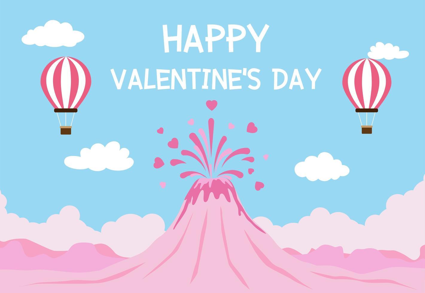 De dagachtergrond van Valentine met vulkaanuitbarsting van liefde en ballons in blauwe hemel vector
