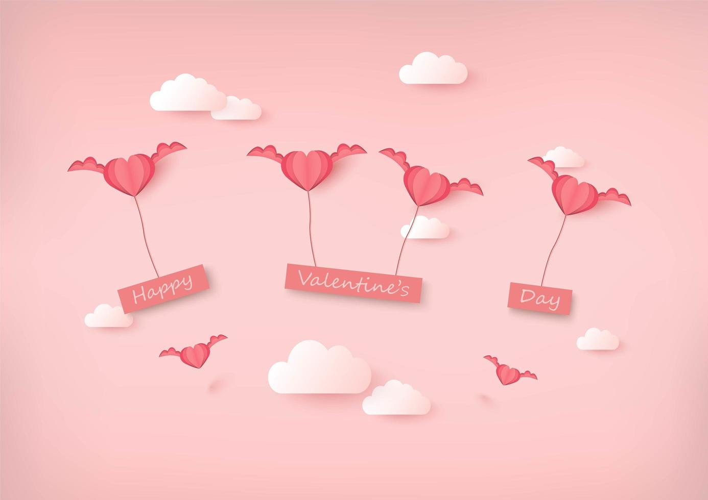 Happy Valentine's Day teken geschorst door papier gesneden stijl gevleugelde harten vector