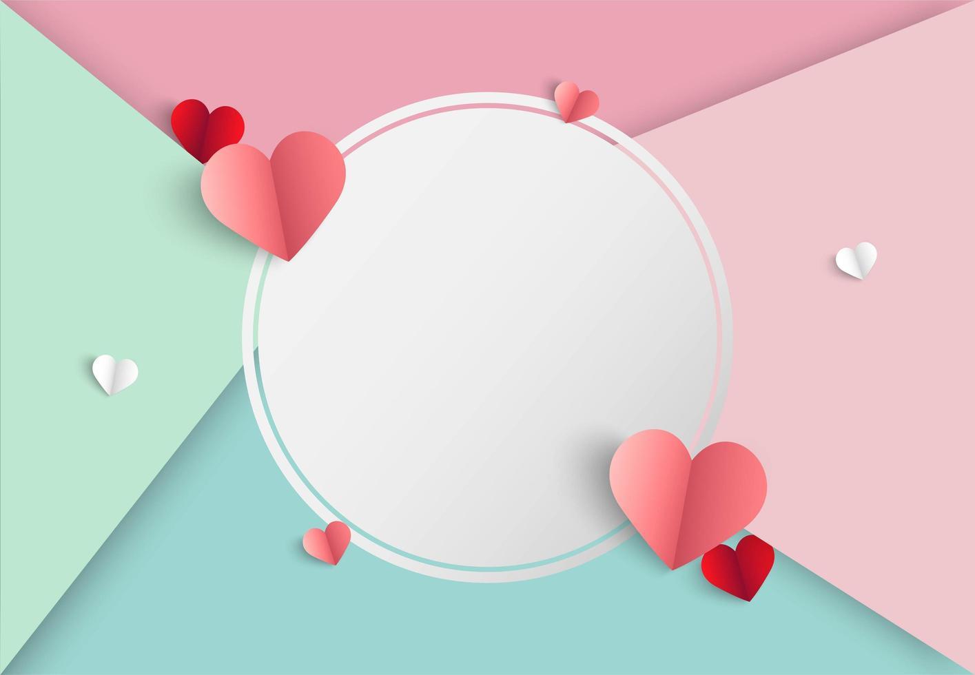 Valentijnskaartenachtergrond met kleurrijke secties, harten en leeg wit cirkelkader vector