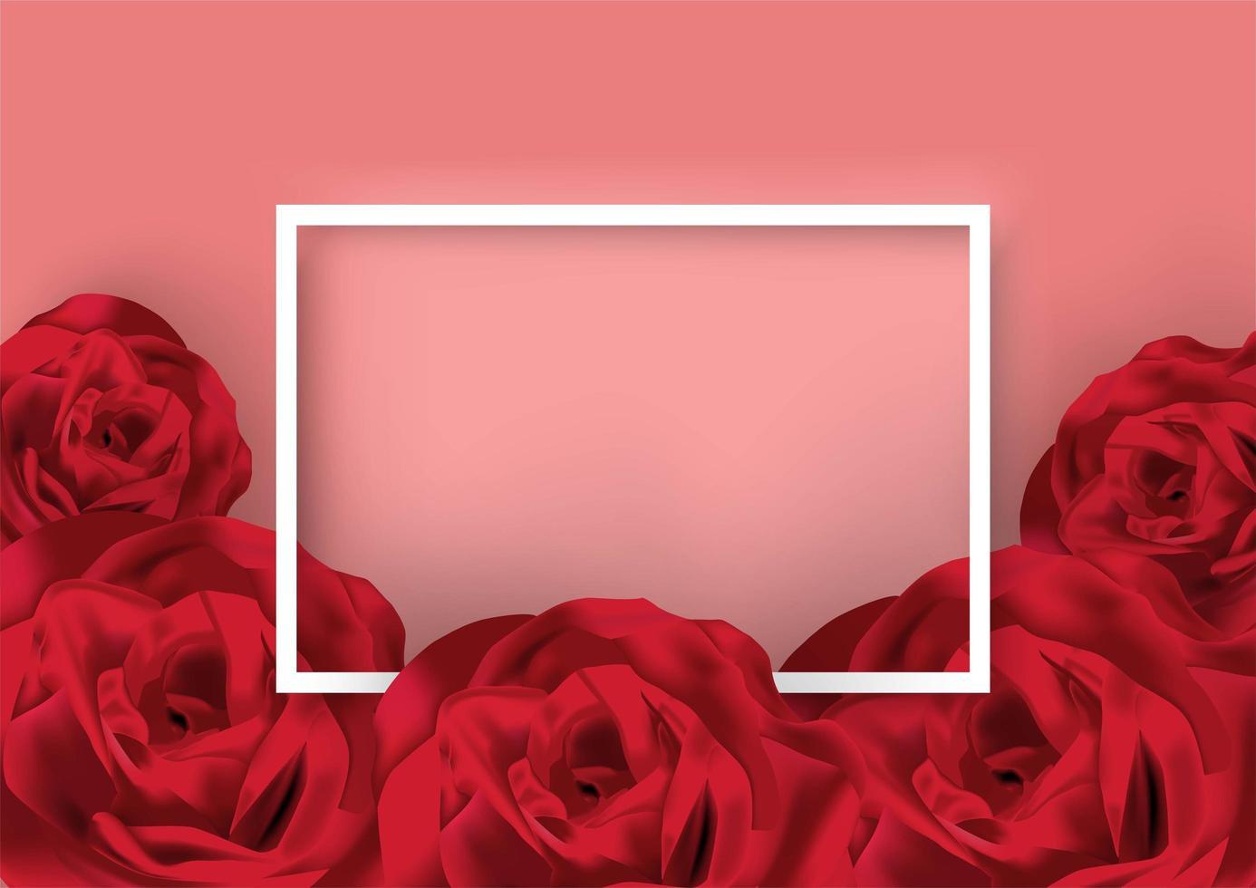 Het witte frame van de valentijnskaartendag dat door rozen wordt omringd vector