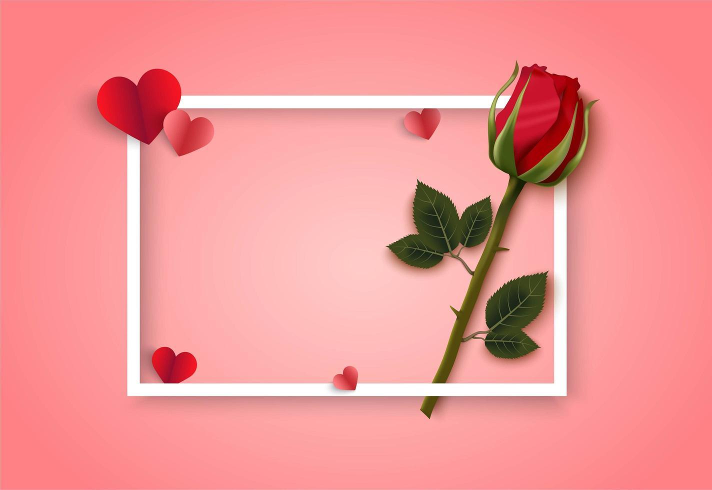De roze achtergrond van de valentijnskaartendag met wit kader, harten en nam toe vector