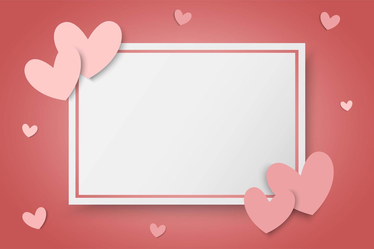 De achtergrond van de valentijnskaartendag met roze harten en leeg wit rechthoekkader vector