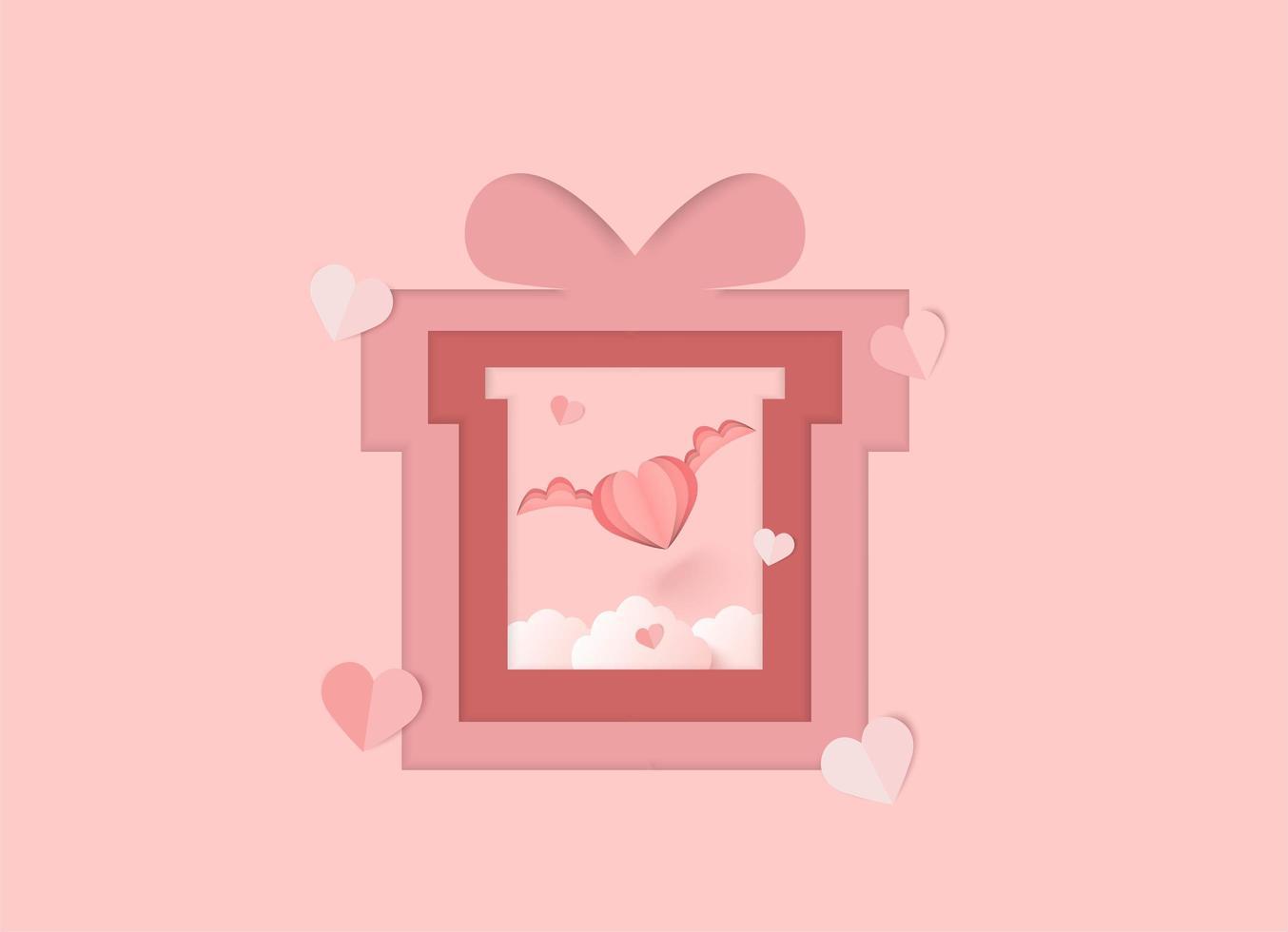 De roze achtergrond van de valentijnskaartendag met gelaagd document sneed giftvakje en gevleugeld hart vector