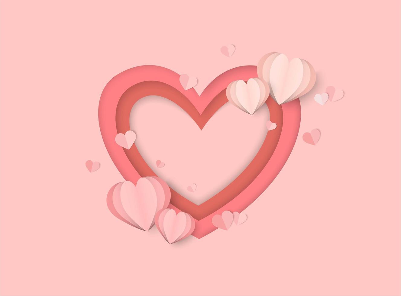 Valentijnsdag roze achtergrond met gelaagd papier gesneden stijl hart vormen vector
