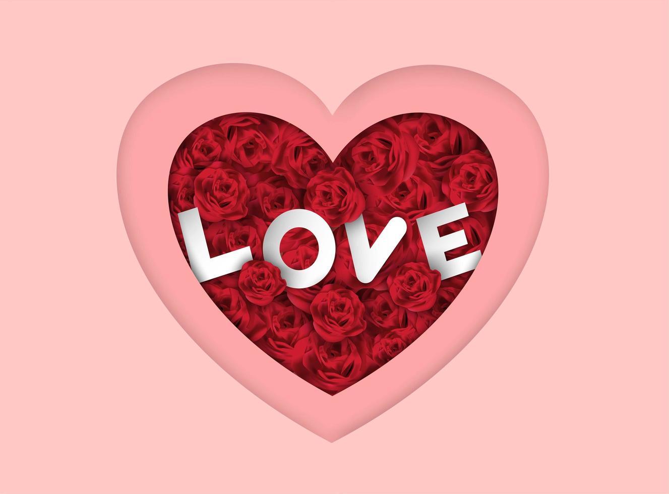 Valentijnsdag roze gelaagde hart achtergrond met rozen en liefde tekst vector