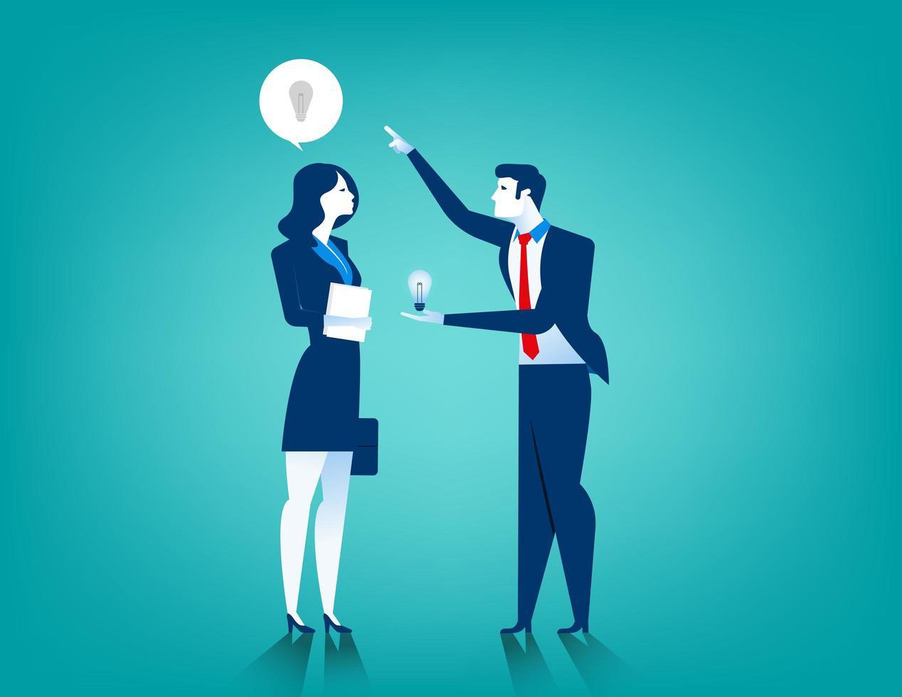 De zakenman geeft vrouwen nieuwe idee gloeilamp vector