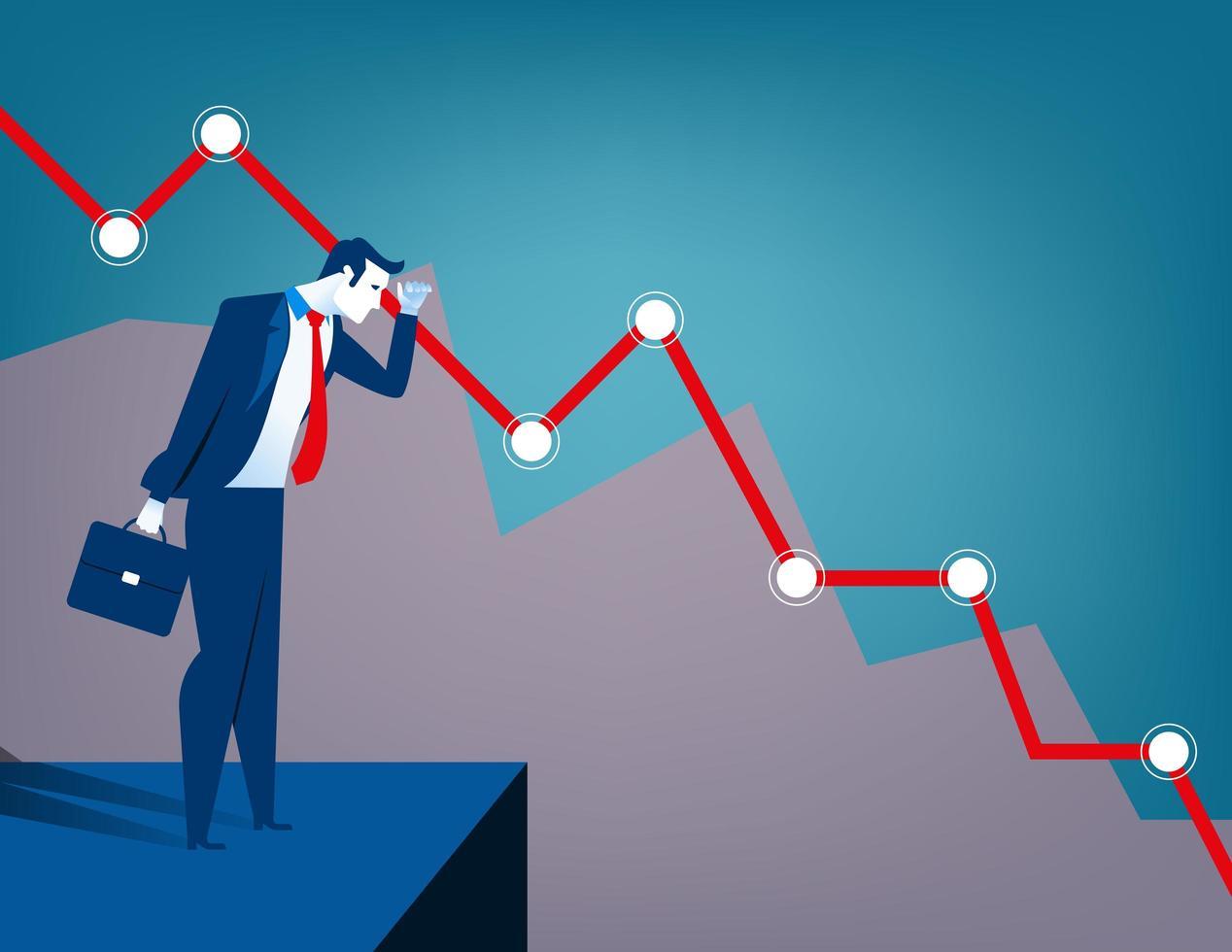 Zakenman die dalend diagram bekijkt. Economische en financiële crisis vector