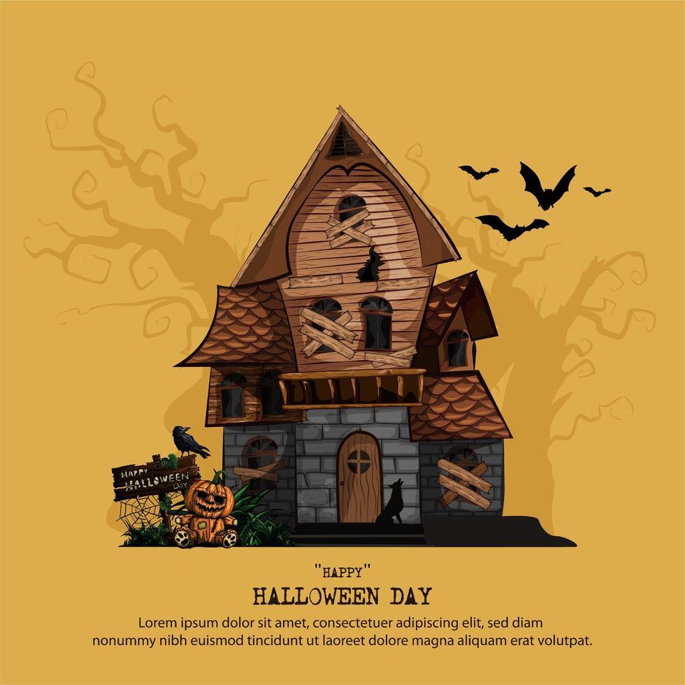 Halloween-spookhuis met exemplaarruimte voor tekst vector